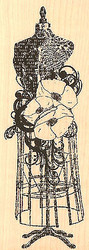 Poppy Dress Stand, Wood Mounted Rubber Stamp IMPRESSION OBSESSION - NEW, E13087