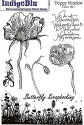 Poppy Meadow Flowers Set Cling Unmounted Rubber Stamps IndigoBlu Stamp PM1 NEW