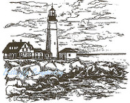 Portland Head Lighthouse Wood Mounted Rubber Stamp Northwoods Rubber Stamp New