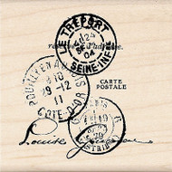 Postage Collage Wood Mounted Rubber Stamp by INKADINKADO 96740 NEW
