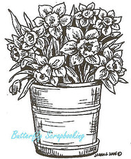 Pot Of Daffodils Flowers Wood Mounted Rubber Stamp Northwoods Rubber Stamp New
