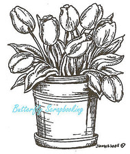 Pot Of Tulips, Wood Mounted Rubber Stamp NORTHWOODS - NEW, F1399
