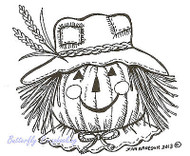 Pumpkin Scarecrow Face, Wood Mounted Rubber Stamp NORTHWOODS - NEW, E9216