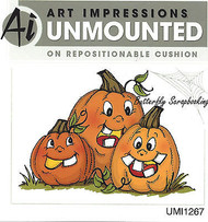 Pumpkins Halloween Jacks Unmounted Rubber Stamp with Cushion Art Impressions NEW