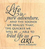 Pure Adventure Text, Wood Mounted Rubber Stamp IMPRESSION OBSESSION- NEW, D13330
