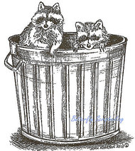 Raccoons In Can Wood Mounted Rubber Stamp Northwoods Rubber Stamp M9035 New