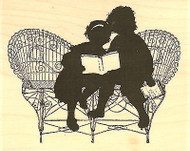Reading Silhouette, Wood Mounted Rubber Stamp IMPRESSION OBSESSION - NEW, F13332