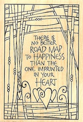 Road Map Text, Wood Mounted Rubber Stamp IMPRESSION OBSESSION - NEW, J15058