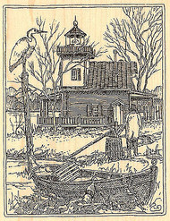 Roanoke River Lighthouse Wood Mounted Rubber Stamp Impression Obsession NEW