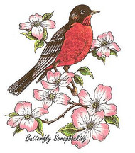 Robin Bird On Flower Branch Cling Unmounted Rubber Stamp C.C. Designs JD1047 New