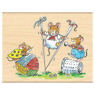 Rock And Roll Mice, Wood Mounted Rubber Stamp PENNY BLACK - NEW, 4138K
