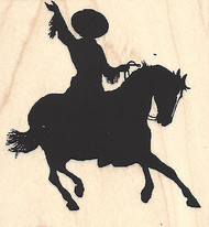 Rodeo Silhouette #3, Wood Mounted Rubber Stamp IMPRESSION OBSESSION- NEW, D13167
