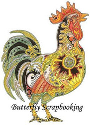 ROOSTER Animal Spirit Cling Unmounted Rubber Stamp EARTH ART Sue Coccia New
