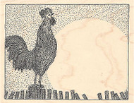 Rooster On Fence Wood Mounted Rubber Stamp IMPRESSION OBSESSION Farm Crowing New