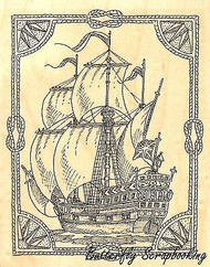 Roped Ship, Wood Mounted Rubber Stamp IMPRESSION OBSESSION - NEW, H1960