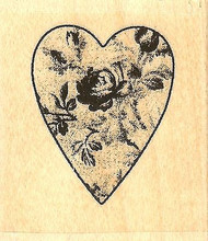 Rose Tapestry Heart, Wood Mounted Rubber Stamp IMPRESSION OBSESSION - NEW, B9551