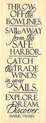 Sail Away Explore Saying Wood Mounted Rubber Stamp Impression Obsession 13011NEW