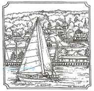 Sail Boat & Village Scene Wood Mounted Rubber Stamp Northwoods Rubber Stamp New
