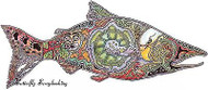 SALMON FISH Animal Spirit Unmounted Rubber Stamp EARTH ART Sue Coccia New