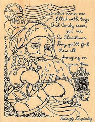 Santa Collage Christmas, Wood Mounted Rubber Stamp STAMPENDOUS, NEW - R213