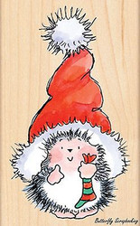 Santa's Hat Hedgehog, Wood Mounted Rubber Stamp PENNY BLACK - NEW, 4283K