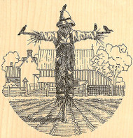 Scarecrow Country Farm Barn Wood Mounted Rubber Stamp Impression Obsession NEW