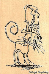 Scraggly Cat Halloween, Wood Mounted Rubber Stamp STAMPENDOUS, NEW - M314