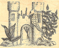 Seahorse & Sandcastle Scene Wood Mounted Rubber Stamp Impression Obsession NEW