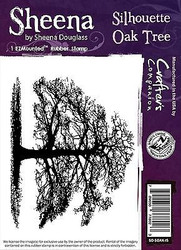 SILHOUETTE OAK TREE Cling Unmounted Rubber Stamp SHEENA DOUGLASS SD-SOAK-IS New