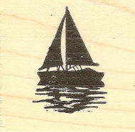 Silhouette Sailboat, Wood Mounted Rubber Stamp NORTHWOODS - NEW, C9794