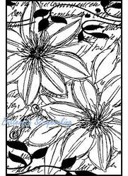 Sketch Flowers In Frame Cling Unmounted Rubber Stamp MAGENTA C14626-K NEW