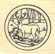 Small Buck In Stream Circle, Wood Mounted Rubber Stamp NORTHWOODS - NEW, CC7682