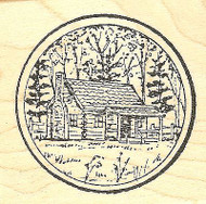 Small Cabin Circle, Wood Mounted Rubber Stamp NORTHWOODS - NEW, CC6561
