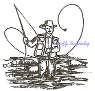Small Fly Fishing Fisherman Mounted Rubber Stamp Northwoods Stamp C9536 New