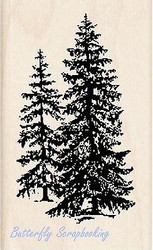 Small PINE TREES Pinetree Wood Mounted Rubber Stamp by INKADINKADO 96683 NEW
