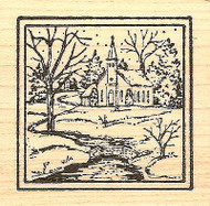 Small Snowy Church In Square, Wood Mounted Rubber Stamp NORTHWOODS - NEW, CC7138