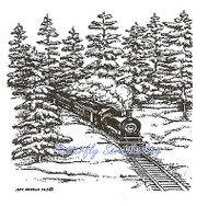 SMALL Train In Forest Snow Wood Mounted Rubber Stamp Northwoods Rubber Stamp New