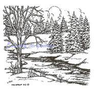 Small Tree & Stream Winter Spruce, Wood Mounted Rubber Stamp NORTHWOODS - CC9354