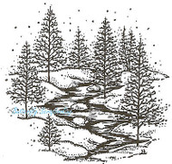 Small Winter Trees & Stream, Wood Mounted Rubber Stamp NORTHWOODS - NEW, M2976