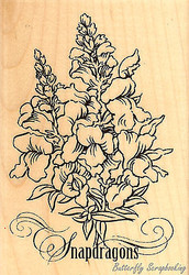 Snapdragons, Wood Mounted Rubber Stamp STAMPENDOUS, NEW - P192