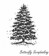 Snowfall Pine, Wood Mounted Rubber Stamp New NORTHWOODS - C3947