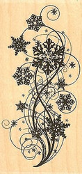 Snowflake Flourish, Wood Mounted Rubber Stamp IMPRESSION OBSESSION - NEW, F13376