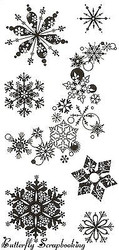 SNOWFLAKE SNOWFLAKES Clear Unmounted Rubber Stamp Set INKADINKADO 98397 NEW