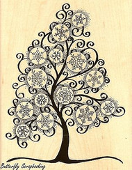 Snowflake Tree, Wood Mounted Rubber Stamp STAMPENDOUS, NEW - R212