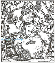 Snowman & Forest Friends Wood Mounted Rubber Stamp NORTHWOODS New P4846