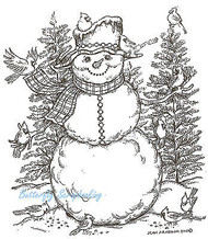 Snowman And Cardinal Friends, Wood Mounted Rubber Stamp NORTHWOODS - P8299