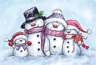 Snowman Family Christmas Unmounted Rubber Stamp Wild Rose Studio # CL461 New