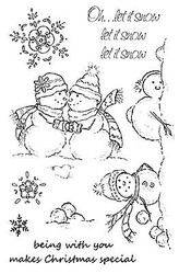 Snowman Let It Snow Clear Unmounted Stamp Set Impression Obsession CL195 NEW