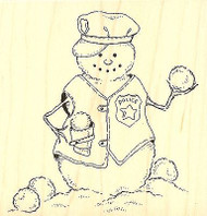 SNOWMAN POLICE Winter Wood Mounted Rubber Stamp Impression Obsession E8288 NEW