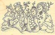 Snowman Trio Family Wood Mounted Rubber Stamp Impression Obsession F7696 NEW
